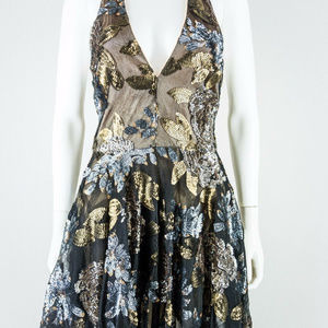 bebe Lace Sequined Fit & Flare Halter Dress 10